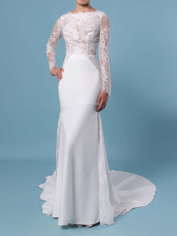 Trumpet/Mermaid Scalloped Neck Lace Silk-like Satin Sweep Train Appliques Lace Wedding Dresses #DOB00023401