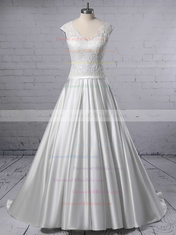 Ball Gown V-neck Lace Satin Sweep Train Pockets Wedding Dresses #DOB00023403