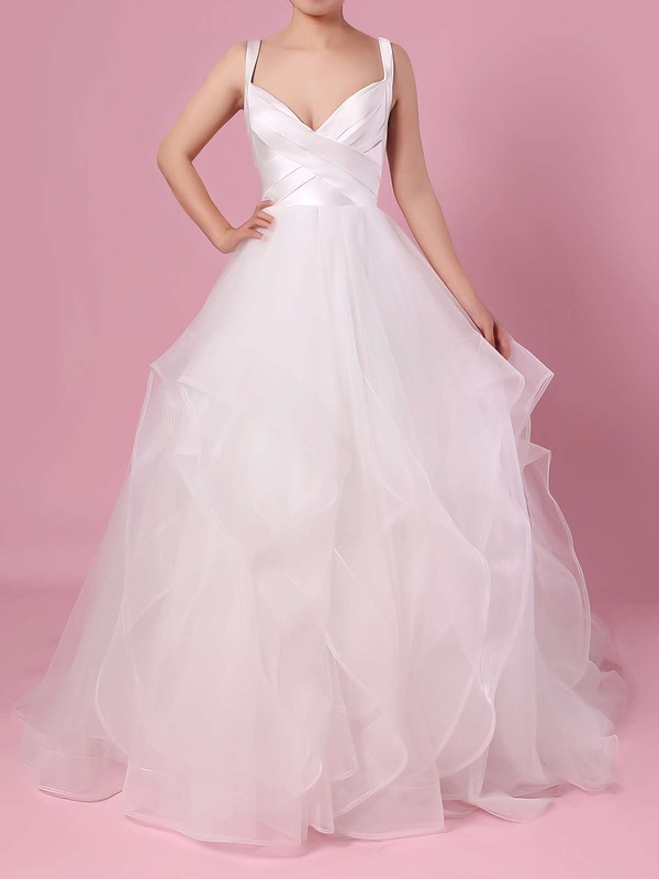 Ball Gown V-neck Organza Tulle Floor-length Cascading Ruffles Wedding Dresses #DOB00023407