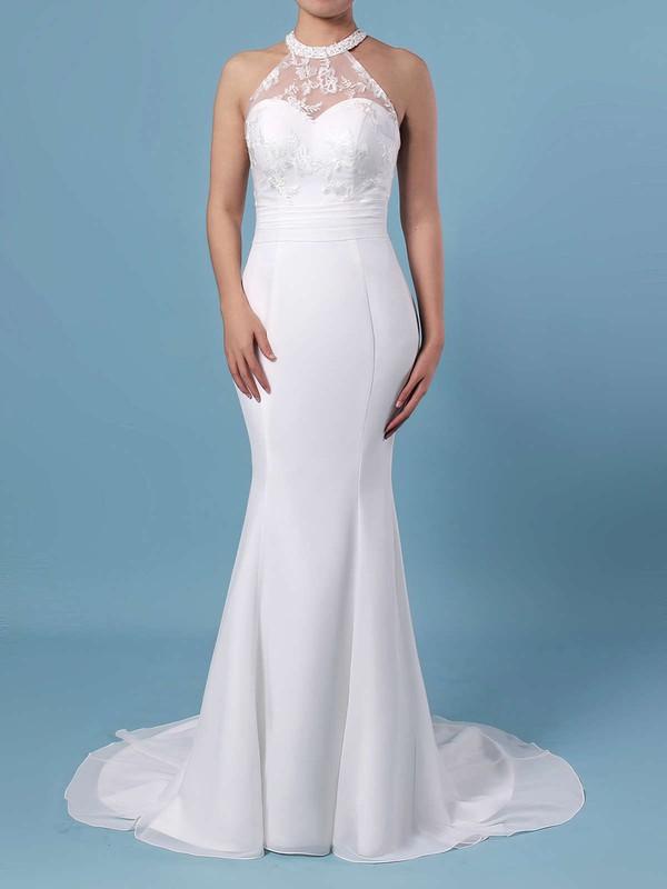 Trumpet/Mermaid Scoop Neck Chiffon Tulle Sweep Train Embroidered Wedding Dresses #DOB00023408