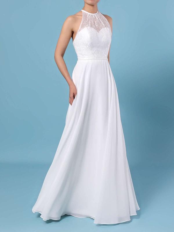 A-line Scoop Neck Chiffon Floor-length Lace Wedding Dresses #DOB00023409