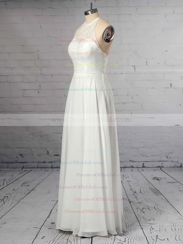 A-line Scoop Neck Chiffon Floor-length Lace Wedding Dresses #DOB00023409