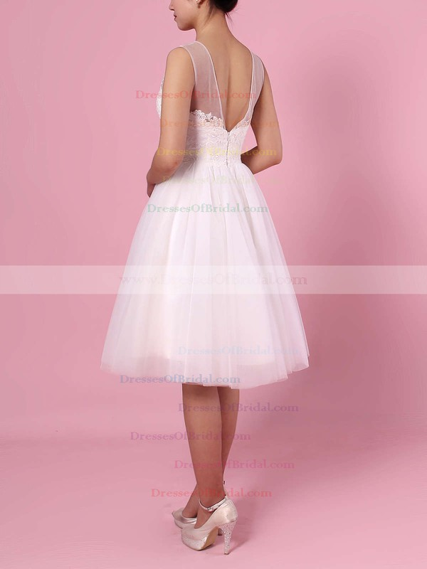 A-line Scoop Neck Tulle Knee-length Appliques Lace Wedding Dresses #DOB00023419