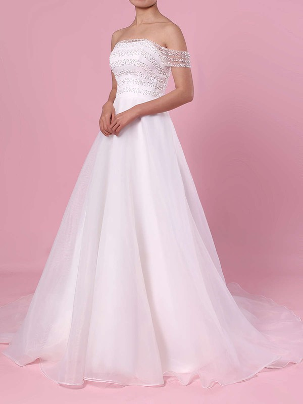 Princess Off-the-shoulder Organza Tulle Sweep Train Sequins Wedding Dresses #DOB00023423