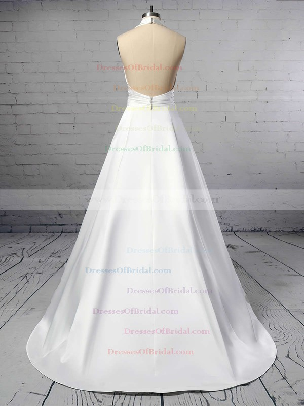 Ball Gown Halter Satin Sweep Train Ruffles Wedding Dresses #DOB00023424
