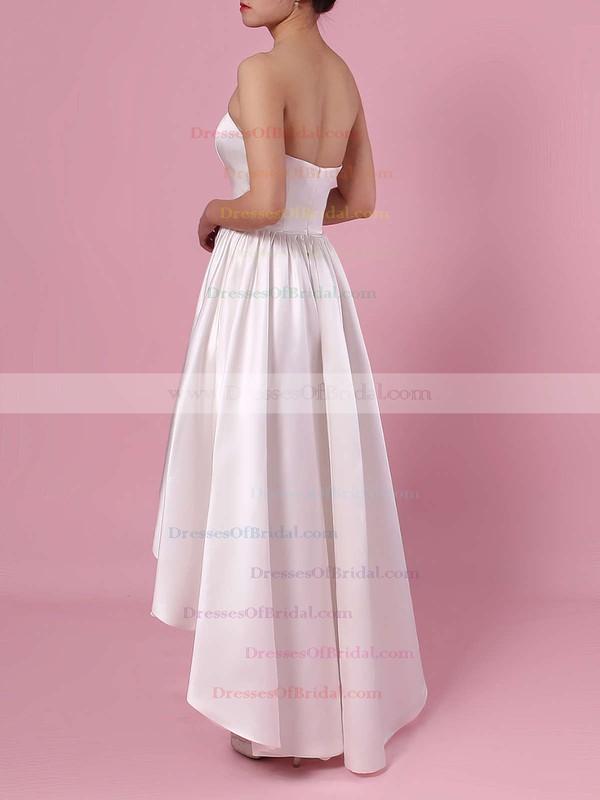 Princess Strapless Satin Asymmetrical Pockets Wedding Dresses #DOB00023426