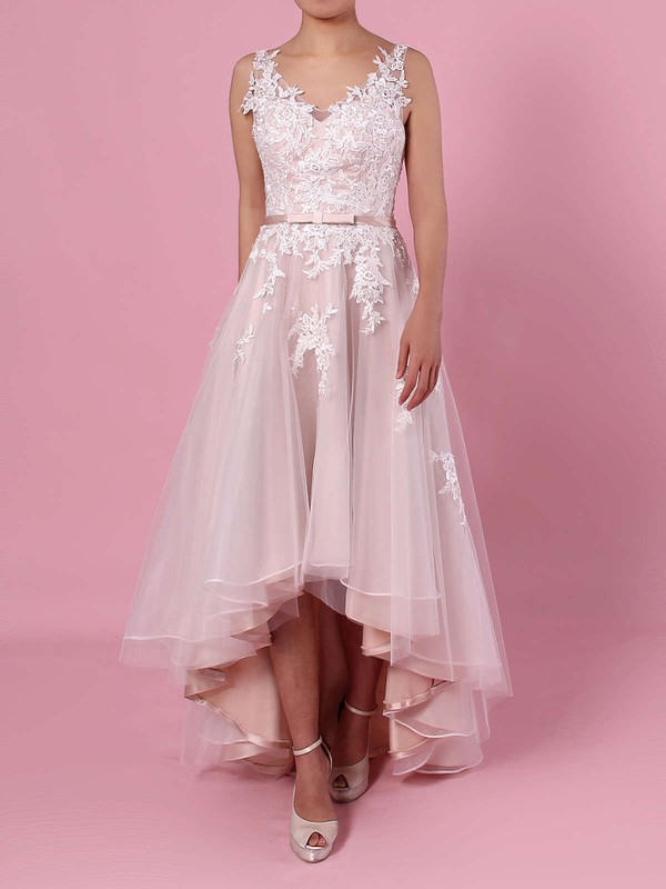 A-line V-neck Tulle Asymmetrical Appliques Lace Wedding Dresses #DOB00023427