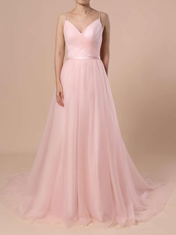 A-line V-neck Tulle Sweep Train Sashes / Ribbons Wedding Dresses #DOB00023430