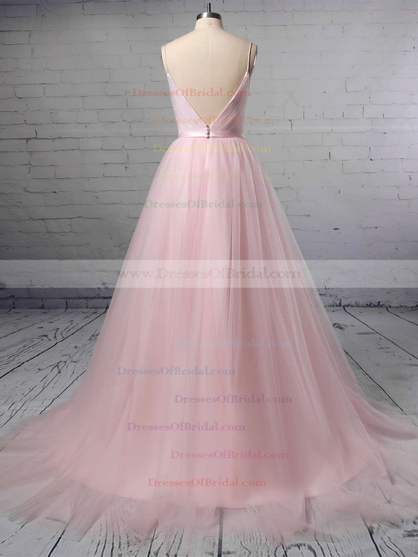 A-line V-neck Tulle Sweep Train Sashes / Ribbons Wedding Dresses #DOB00023430