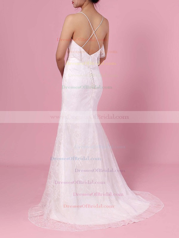 Sheath/Column V-neck Lace Sweep Train Wedding Dresses #DOB00023439