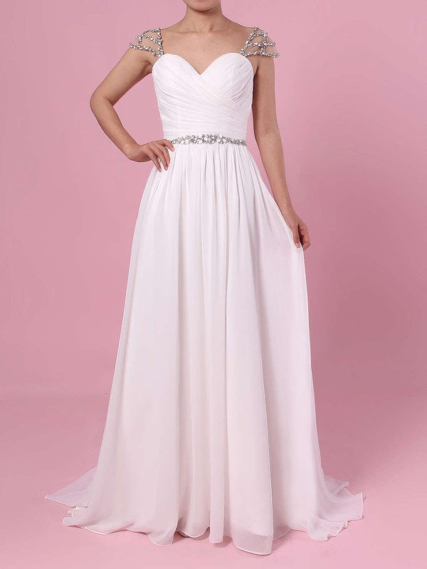 A-line V-neck Chiffon Sweep Train Beading Wedding Dresses #DOB00023441
