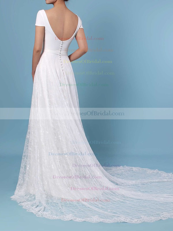 A-line Scoop Neck Lace Sweep Train Sashes / Ribbons Wedding Dresses #DOB00023448