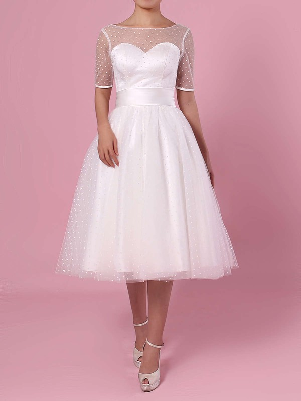 Princess Scoop Neck Tulle Tea-length Bow Wedding Dresses #DOB00023451