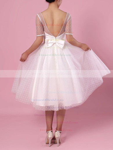 Princess Scoop Neck Tulle Tea-length Bow Wedding Dresses #DOB00023451