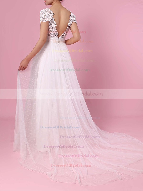A-line V-neck Lace Tulle Sweep Train Sashes / Ribbons Wedding Dresses #DOB00023453