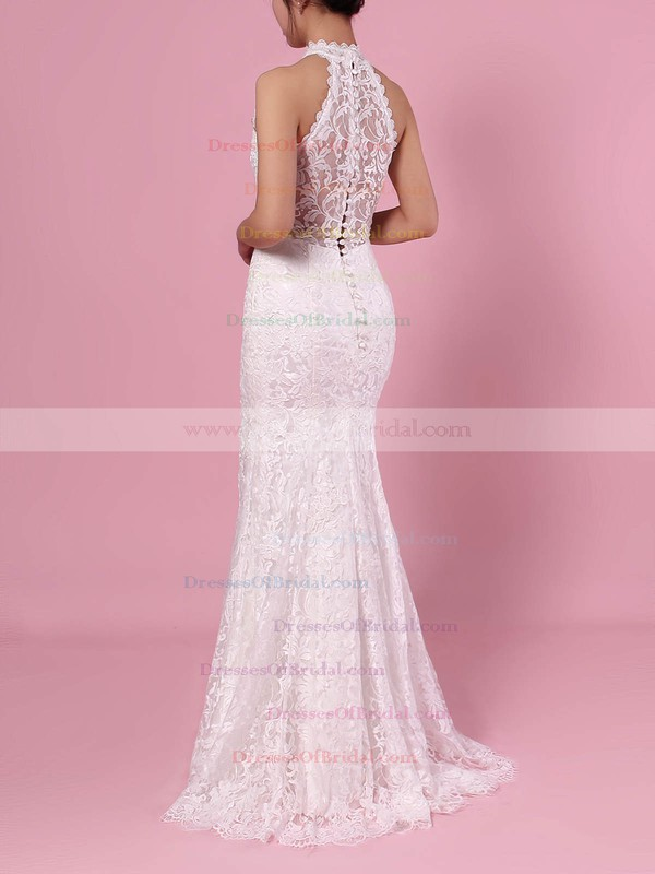 Sheath/Column High Neck Lace Floor-length Lace Wedding Dresses #DOB00023454