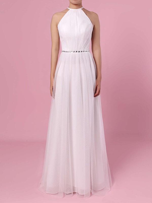 A-line Scoop Neck Tulle Floor-length Wedding Dresses #DOB00023455