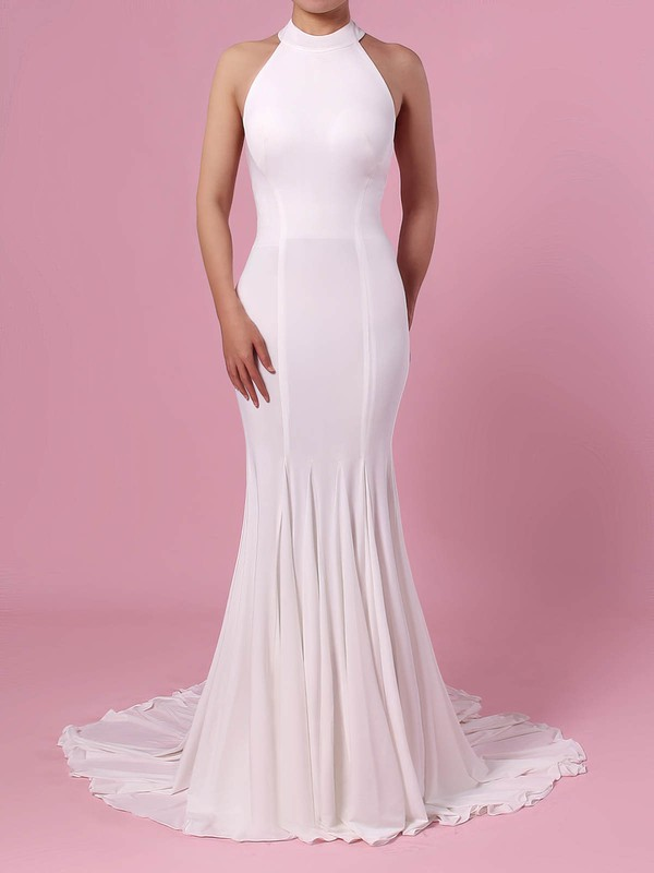 Trumpet/Mermaid Halter Satin Sweep Train Wedding Dresses #DOB00023460