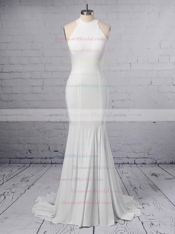 Trumpet/Mermaid Halter Satin Sweep Train Wedding Dresses #DOB00023460
