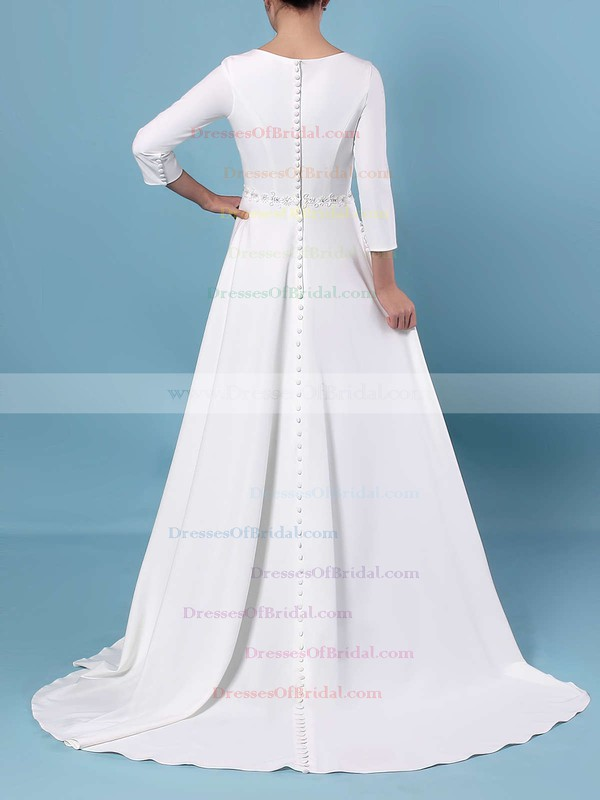 A-line Scoop Neck Satin Sweep Train Sashes / Ribbons Wedding Dresses #DOB00023461