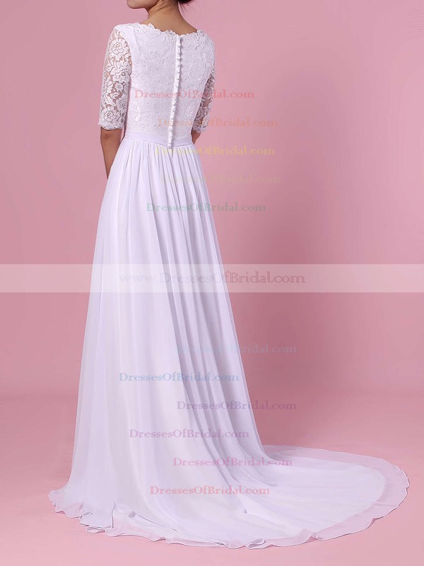 A-line Scoop Neck Lace Chiffon Sweep Train Sashes / Ribbons Wedding Dresses #DOB00023464