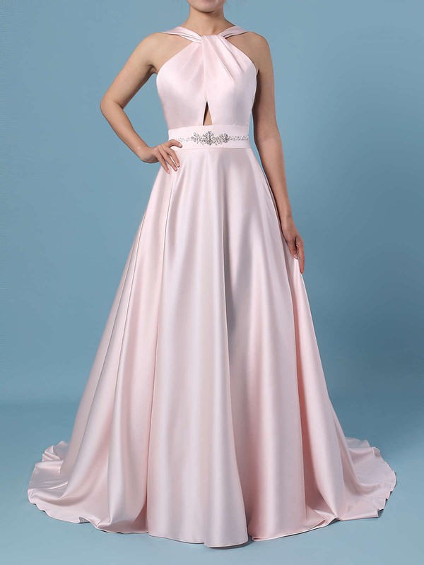Ball Gown Halter Satin Sweep Train Beading Wedding Dresses #DOB00023465