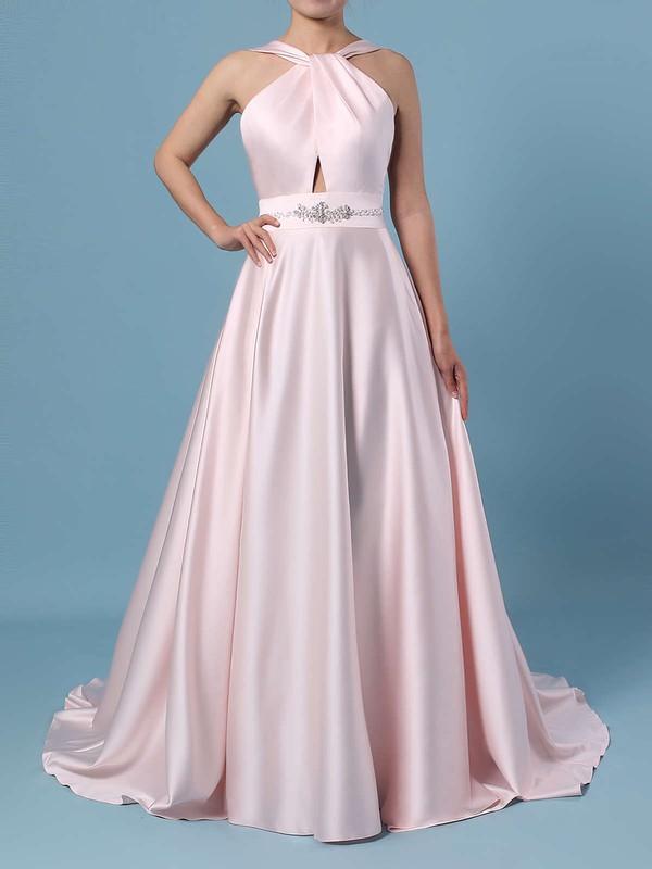 Ball Gown Halter Satin Sweep Train Beading Wedding Dresses #DOB00023465