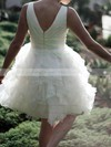 V-neck Ball Gown Knee-length Organza Tiered Wedding Dresses #DOB00020477