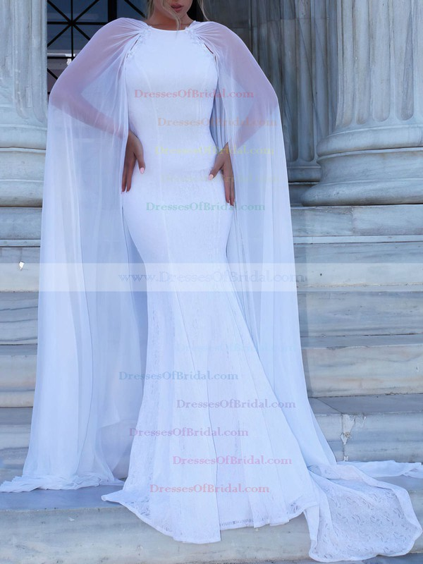 Trumpet/Mermaid Scoop Neck Sweep Train Lace Appliques Lace Wedding Dresses #DOB00023468