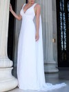 A-line V-neck Sweep Train Lace Chiffon Appliques Lace Wedding Dresses #DOB00023469