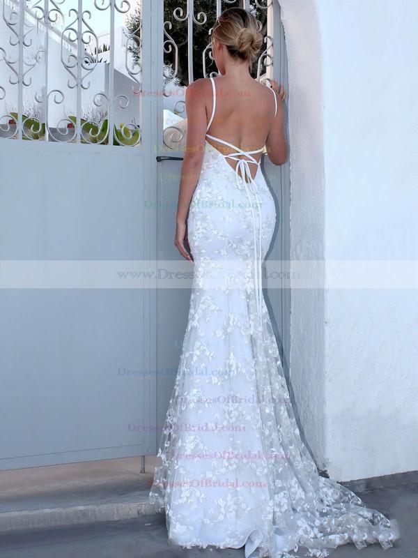 Trumpet/Mermaid V-neck Sweep Train Lace Appliques Lace Wedding Dresses #DOB00023470