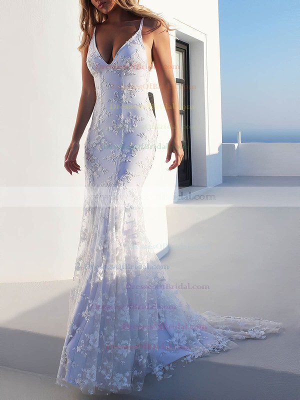 Trumpet/Mermaid V-neck Sweep Train Lace Appliques Lace Wedding Dresses #DOB00023470