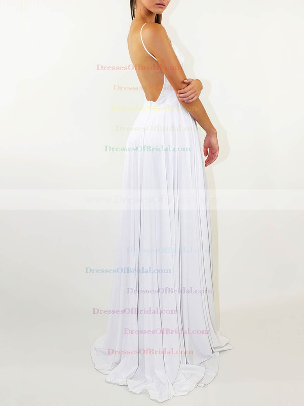 A-line Scoop Neck Sweep Train Lace Silk-like Satin Split Front Wedding Dresses #DOB00023471