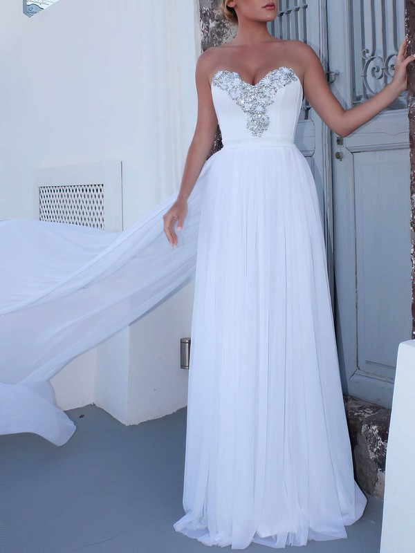A-line Sweetheart Watteau Train Chiffon Beading Wedding Dresses #DOB00023474