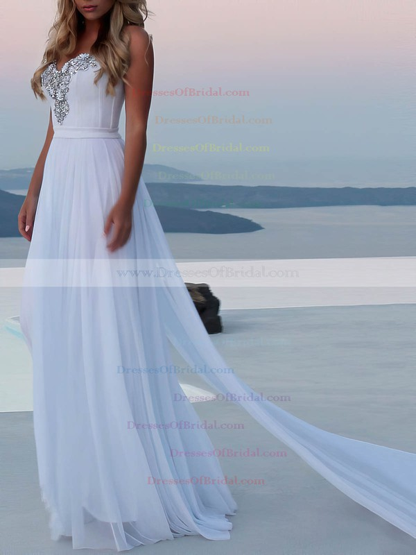 A-line Sweetheart Watteau Train Chiffon Beading Wedding Dresses #DOB00023474