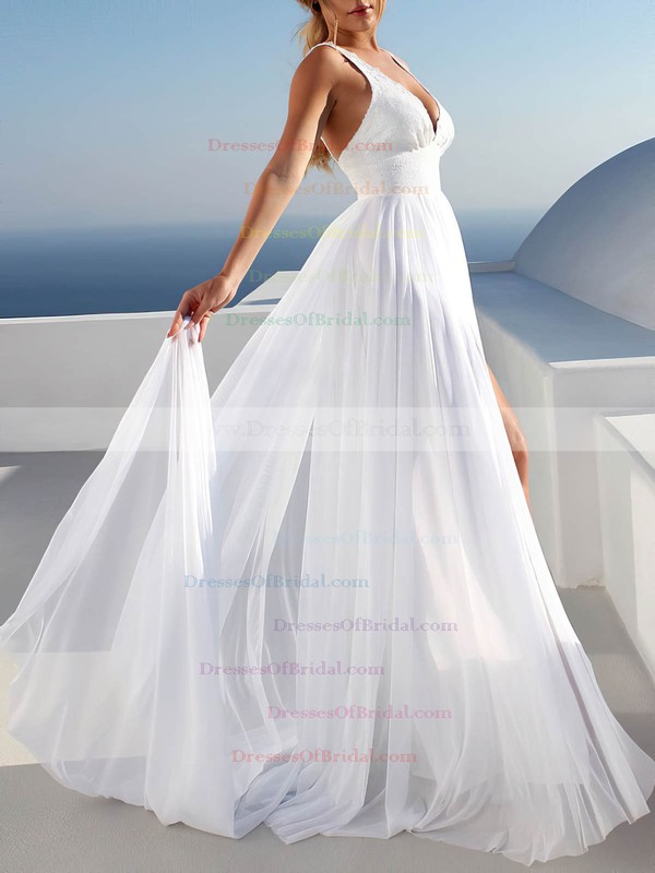 A-line V-neck Sweep Train Chiffon Appliques Lace Wedding Dresses #DOB00023475