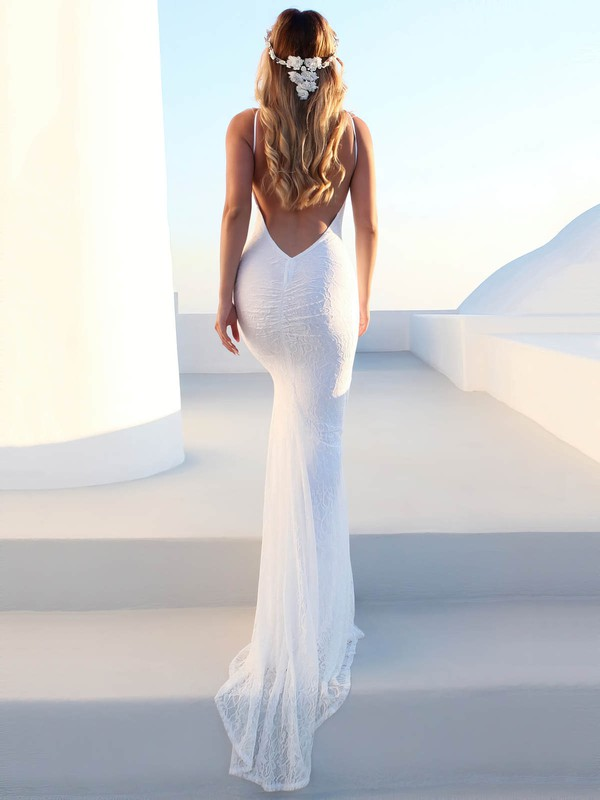 Sheath/Column Scoop Neck Sweep Train Lace Wedding Dresses #DOB00023476