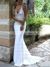 Trumpet/Mermaid V-neck Sweep Train Sequined Appliques Lace Wedding Dresses #DOB00023477