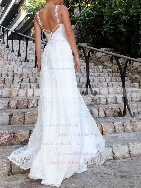 A-line V-neck Sweep Train Lace Appliques Lace Wedding Dresses #DOB00023478