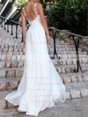 A-line V-neck Sweep Train Lace Appliques Lace Wedding Dresses #DOB00023478