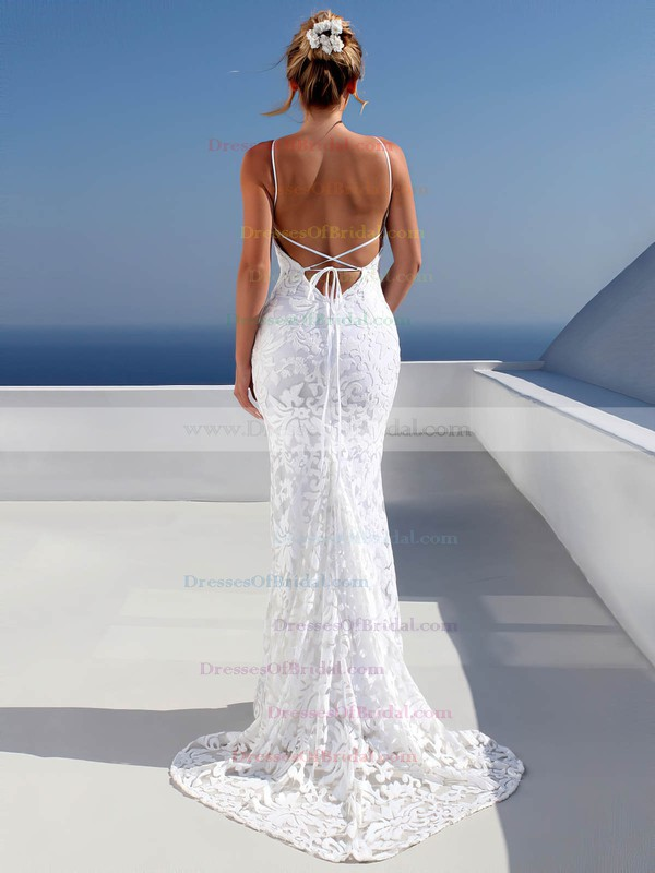 Trumpet/Mermaid Scoop Neck Sweep Train Lace Wedding Dresses #DOB00023479