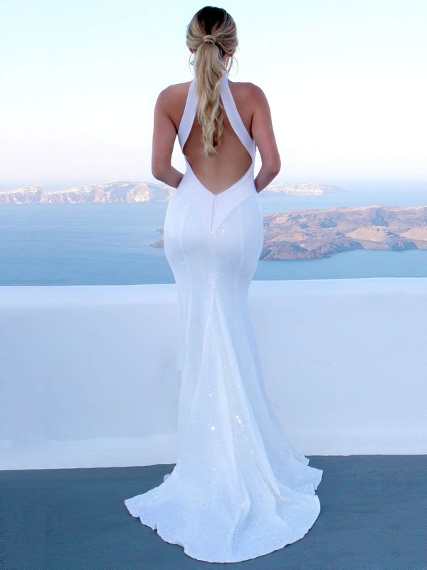 Trumpet/Mermaid High Neck Sweep Train Sequined Wedding Dresses #DOB00023480
