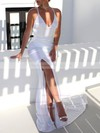 Trumpet/Mermaid V-neck Sweep Train Satin Ruffles Wedding Dresses #DOB00023481