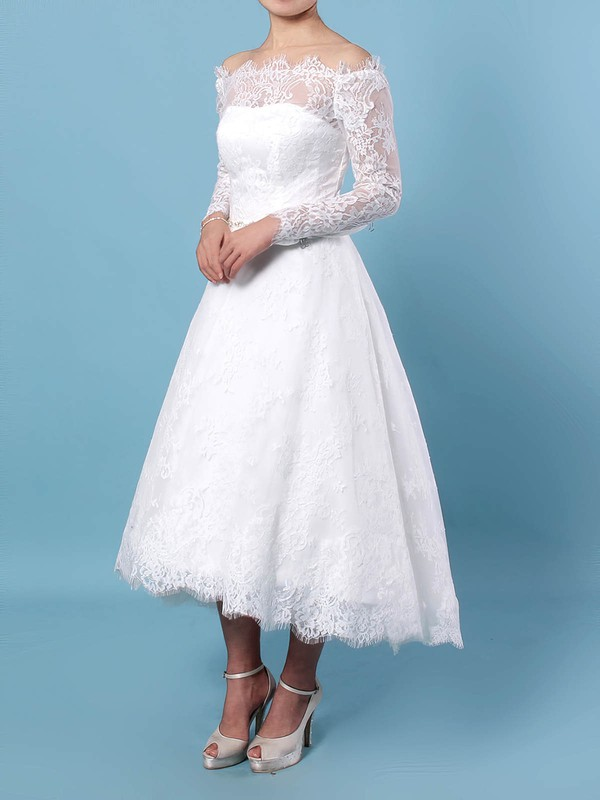Lace Ball Gown Off-the-shoulder Tea-length Beading Wedding Dresses #DOB00023273