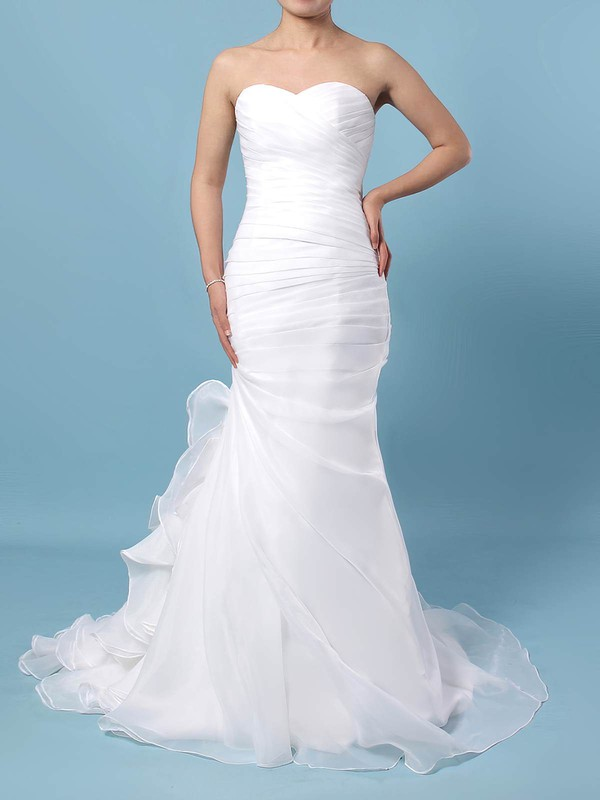 Chiffon Trumpet/Mermaid Sweetheart Sweep Train Ruched Wedding Dresses #DOB00023291