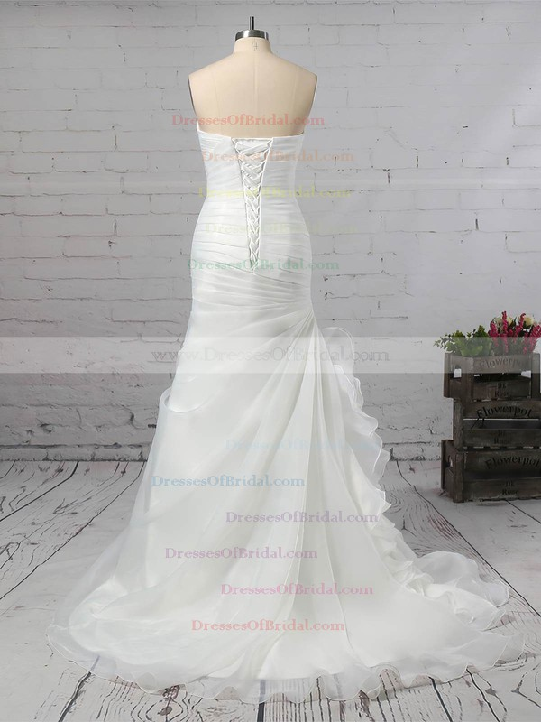 Chiffon Trumpet/Mermaid Sweetheart Sweep Train Ruched Wedding Dresses #DOB00023291