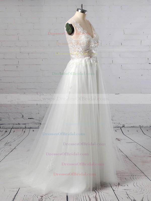 Tulle A-line V-neck Floor-length Appliques Lace Wedding Dresses #DOB00023352