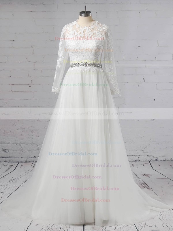 Tulle Ball Gown Scoop Neck Sweep Train Appliques Lace Wedding Dresses #DOB00023354