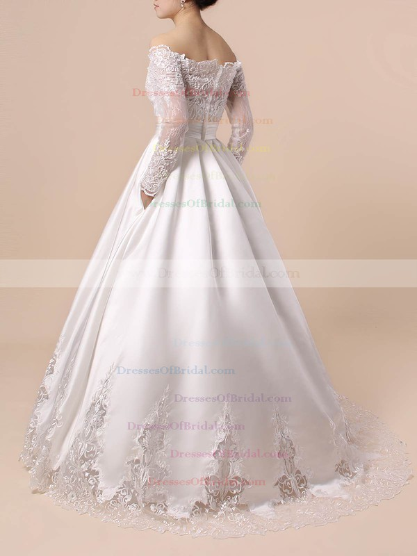 Lace Satin Ball Gown Off-the-shoulder Floor-length Beading Wedding Dresses #DOB00023376