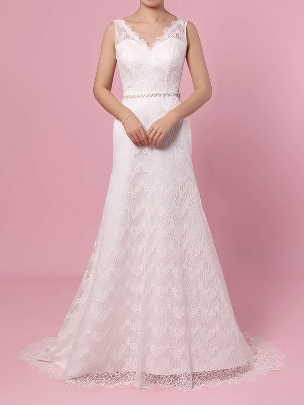 Lace Trumpet/Mermaid V-neck Sweep Train Sashes / Ribbons Wedding Dresses #DOB00023378